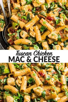 Creamy Easy Tuscan Chicken Mac and Cheese comes together quickly on the stove top and is the best macaroni and cheese re Good Macaroni And Cheese Recipe, Macaroni Cheese, Mac Cheese, Spinach Mac And Cheese, Olives, Tuscan Chicken Pasta, Cooking Recipes, Healthy Recipes, Pasta Dishes