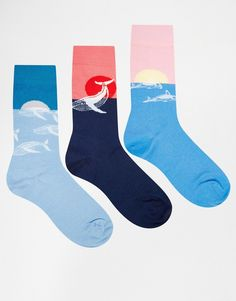Image 1 of ASOS Socks 3 Pack With Color Block Animal Design
