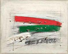 """Guido Strazza, """"Dio e popolo"""", tecnica mista su carta riportata su tavola, cm 71x60, dal catalogo della mostra """"Novanta artisti per una bandiera"""", ©2013 corsiero editore"""