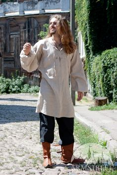 Medieval tunic, natural high-quality authentic pure flax linen for sale. Available in: black fine linen, white fine flax linen, natural fine flax linen :: by medieval store ArmStreet Medieval Tunic, Medieval Costume, Medieval Peasant Clothing, Viking Clothing, Historical Clothing, Mens Tunic, Period Outfit, Tunic Pattern, Medieval Fashion