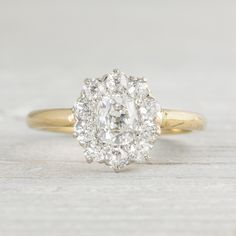 This ring. Im dying. Image of .80 Carat Edwardian Diamond Cluster Engagement Ring