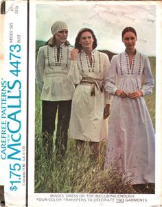 McCalls 4473 1970s  Misses Peasant Boho Hippie Style Pullover Dress or Top womens vintage sewing pattern by mbchills