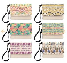 Watercolor Flowers Printed Canvas Clutch Purse with Wristlet Strap WAS/_12