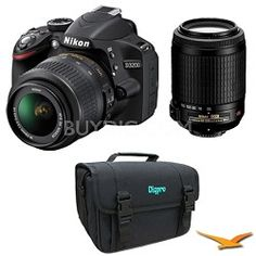 Nikon D3200 DX-format Digital SLR Kit w/ 18-55mm and 55-200mm VR Lens (Black)