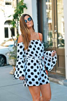 Parisian Polka Time // off-the-shoulder polka dot romper, summer style Bright Summer Outfits, Summer Fashion Outfits, Nyc Life, Prom Dresses, Summer Dresses, Playsuits, Parisian, Dress Skirt, Polka Dot