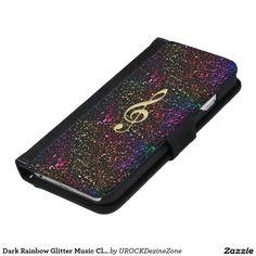 Dark Rainbow Glitter #Music Clef iPhone Wallet Case #iPhone 6 Wallet Case  #zazzle