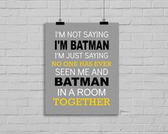 Batman Print - Batman-Typografie-Grafik, Superhero Angebot, jungen Zimmer, Superhero Kindergarten, Superhero Playroom Decor, Super Hero Print