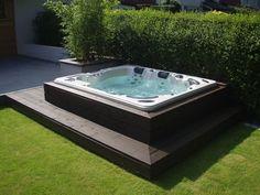 Backyard hot tub patio jacuzzi Ideas for 2020 Hot Tub Garden, Hot Tub Backyard, Small Backyard Pools, Backyard Patio Designs, Backyard Ideas, Sloped Backyard, Small Pools, Pool Decks, Jacuzzi Outdoor