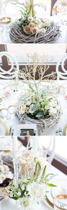 Woodland elements mixed with classic gold and white make a gorgeous yet natural tablescape for your wedding!