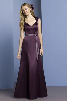 V-neck A-line satin bridesmaid dress $210.00