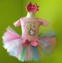 #MC Sweet Baby Pink n Blue Hello Kitty Birthday Tutu Outfit by PoshBabyStore.com