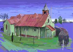 Tin Tabernacle, corrugated iron church, Worcestershire. iPad painting. Kathy Lewis. Digital art.