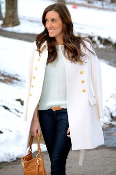 Loving the long white jacket and hint of mint.