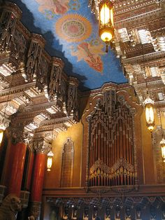 The 6 story lobby of the Detroit Fox Theater. It is unique in having a lobby organ in addition to the Wurlitzer in the auditorium. There were only 4 theatres in the world like ths, and the Fox's is the only one still in it's original spot. This lobby has to be grand and opulent to prepare patrons for the even grander lofty 10 story auditorium.