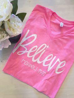 Believe Shirt, Christian Shirt, Christian Gifts, Christian Gifts for Women, Pink, V-Neck, Unisex Shirt, Faith Shirts, All Good Threads