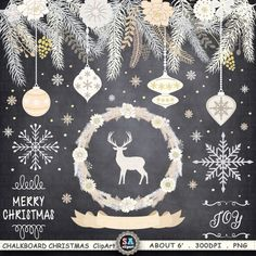 """Chalkboard Christmas Clipart """" CHRISTMAS CLIPART"""" pack ,Rustic Christmas,Christmas Wreath,Christmas Ornaments Christmas Greeting Crs045 by SAClipArt on Etsy"""