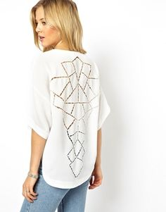 ASOS Top with Dip Back and Cutwork