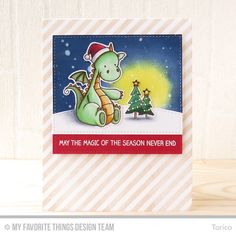 Handmade card from Torico featuring Winter Wonderland, Birdie Brown Beast Friends and Magical Friends stamp sets, Bold Diagonal Stripes Background stamp, Stitched Basic Edges, and Stitched Rectangle STAX Die-namics #mftstamps