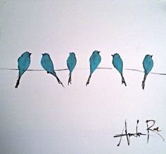 Birds on a wire. Original painting by Amanda Rae Long. 2013