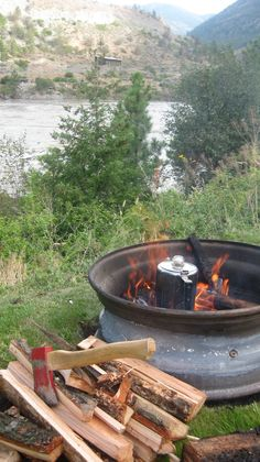 #ExploreGoldCountry #camping #coffee Makin' coffee - Lillooet, BC