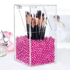 Langforth Large Dust Free Clear Acrylic Makeup Organizer DIY Brushes Holder Case Storage Cosmetic Display Box With Free Glossy Rosy Pearl