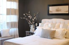 Love the contrast: white bed, dark walls (Kendall Charcoal)