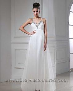 A Line Spaghetti Straps White Chiffon Prom Evening Dresses