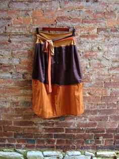 Upcycled Mens Shirt Skirt/ Brown and Sunset/ by RebirthRecycling, $65.00