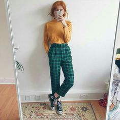 Skin Care Ideas To Keep Your Skin Glowing The nicest dark green checkered tartan vintage high waisted & Depop The post Skin Care Ideas To Keep Your Skin Glowing & fashion trends appeared first on Plaid pants . Neue Outfits, Grunge Outfits, Retro Outfits, Grunge Fashion, Look Fashion, 90s Fashion, Korean Fashion, Fashion Models, Vintage Outfits
