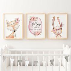 Baby, Girls Floral Woodland Nursery or Bedroom Wall Art Decor Print Set- Personalised