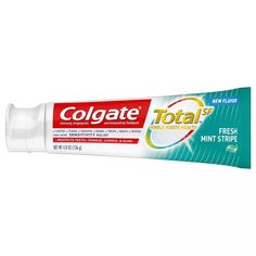 Colgate Total Toothpaste Gel with Fluoride - Fresh Mint Stripe - Flavored Toothpaste, Colgate Toothpaste, Listerine Cool Mint, Drugstore Shampoo, Fresh Mint, Health Facts, Cavities