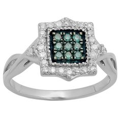 Elora 10k Gold 1/3ct TDW Blue and White Diamond Split Shank Engagement Ring (I-J, I2-I3) (Size 9.5, Rose Gold), Women's, White I-J