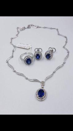Sapphire and diamond set