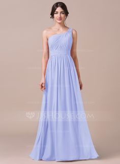 A-Line/Princess One-Shoulder Floor-Length Ruffle Zipper Up Regular Straps Sleeveless No Other Colors Spring Summer Fall General Plus Chiffon Bridesmaid Dress