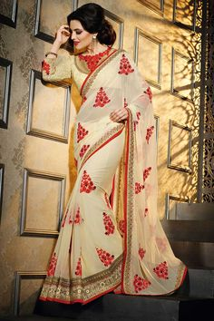 Cream Georgette Saree With Silk Blouse Cream georgette saree with cream silk blouse. Embellished with embroidered, zari and stone. Saree comes with round neck blouse. Product are available in 34,36,38,40 sizes. It is perfect for casual wear, festival wear, party wear and wedding wear.