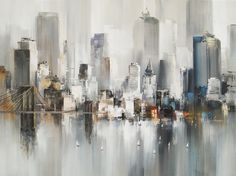 Watercolor Painting New York City Landscape Wallpaper Mural Wallmur Skyline Painting, City Painting, Simple Acrylic Paintings, Watercolor Paintings, Abstract City, Landscape Wallpaper, City Landscape, Art Abstrait, Art Photography
