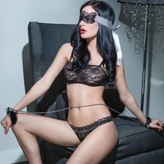 SpellBound Mask & Cuff Set Stylish 2 piece restraint set: with chain belt, faux-fur wrist cuffs and pretty lace mask £26 #Free #UK #Delivery or click and collect from our #London #awardwinning #sexshop