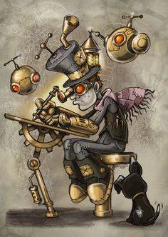 Safari Steampunk Anyone? Steampunk is a rapidly growing subculture of science fiction and fashion. Steampunk Kunst, Steampunk Drawing, Steampunk Artwork, Steampunk Theme, Steampunk Wedding, Steampunk Clothing, Steampunk Tattoo Design, Steampunk Makeup, Steampunk Bedroom