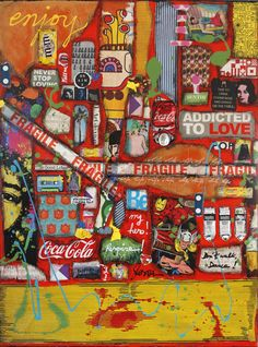 ENJOY  : tableau de Sophie Costa, artiste peintre Collage Art, Collages, Collage Ideas, Addicted To Love, Art Diy, Journal Covers, Abstract Canvas, Mixed Media Art, Life Is Good