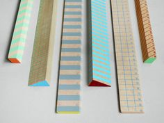 Striped wooden rulers for desktop office school supplies at Present & Correct