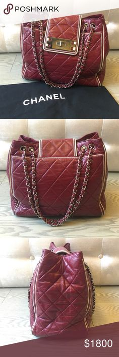 authentic Chanel tote Durable, beautiful tote that comes with the original dust bag. It is in very good condition, the bottom right of the bag is a little worn and discolored  (see picture), it is definitely a bargain for Chanel! Chanel Bags Totes