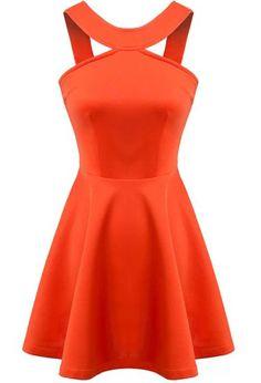 robe évasée dos dénudé -orange -EmmaCloth-Women Fast Fashion Online