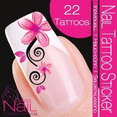 Nail Tattoo Sticker Blossom / Ornament - pink / black, $2.49