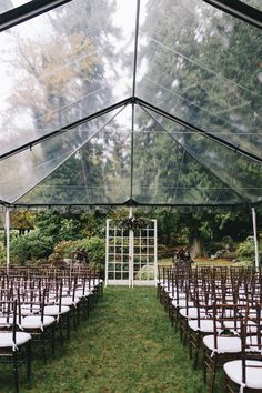 Seattle Wedding Planner, Jen Leslie Events, Romantic Winery Wedding, DeLille Cellars, Woodinville, WA Outdoor wedding ceremony. Clear-top tent. Chivari chairs.