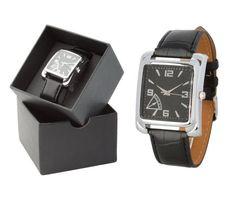 ef3f268b3 Luxusné pánske analógové hodinky v štvorcovom tvare s čiernym remienkom.  Tieto nádherné analógové hodinky pre