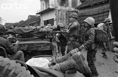 February 1968, Hue, Vietnam --- Evacuation of wounded American and South Vietnamese troops during the battle for Hue,