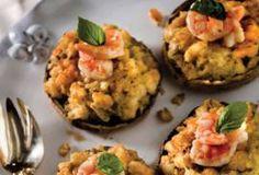 Shrimp-Stuffed Portobello Mushrooms -- sub the breadcrumbs with baked pork rinds zero carbs and add emeralds italian seasoning!