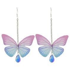 Butterfly Drop Earrings with Acrylic Gem (€2,85) ❤ liked on Polyvore featuring jewelry, earrings, lucite earrings, gem earrings, lucite jewelry, gemstone earrings and drop earrings