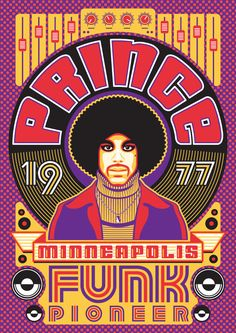 2017 marks 40 years of Funk, Prince style. Rock Posters, Band Posters, Rock Vintage, Vintage Concert Posters, Retro Posters, Poster Vintage, Kunst Poster, We Will Rock You, Disco Party