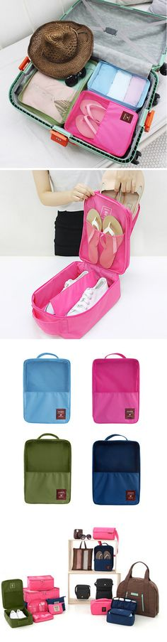 f54eec0807 US 6.99 3 layers Shoes Bag Portable Waterproof Travel Bag Nylon Cosmetic  Mackup Organizer Storage Container
